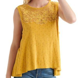 Lucky Brand Mustard Lace Tank Top